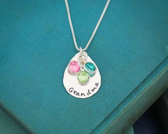 Personalized Grandmother Birthstone Necklace, Mom Mom Necklace, Birthstone Necklace, Grandchildren Necklace, Hand Stamped Personalized