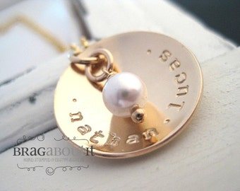 Hand Stamped Personalized Necklace - Hand Stamped Gold Necklace - 14K Gold Filled Personalized Jewelry - Cup of Love with Pearl
