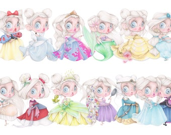 Disney princesses pop surrealism frozen elsa rapunzel snow white cinderella ariel beauty beast pastel art print