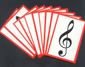 Music Treble Clef Cards - Collage, Mixed Media, Artist Trading Cards, Crafts