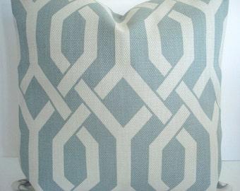 Light Teal Gemetric Gatework Basketweave Pillow Cover - Decorative Designer Pillow Cover - Throw and Lumbar Sizes