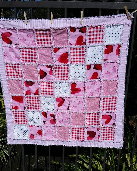 Beautiful Pink Rag Quilt For A Sweet Baby Girl Crib Size