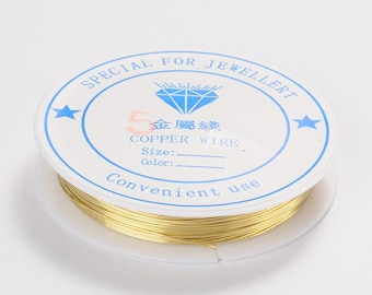 Golden Jewelry Wire \ Artistic Soft Wire Copper Wire  9.5 m Roll \ 24 gauge Golden Jewelry  Wire  \ Golden Wire for  WIRE Wrapping