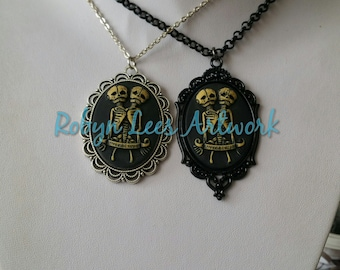 Large Conjoined Twin Skeleton Cabochon Cameo Necklace on Black or Silver Chain. Two Headed, Anatomy, Anatomical, Science, Gothic, Victorian