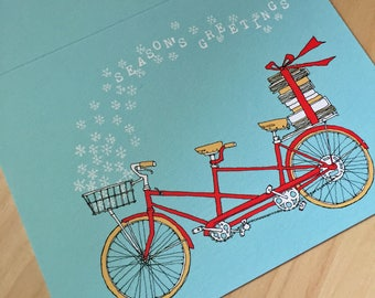 Winter Tandem Bike Card - Christmas Card - Holiday Card - Library Card - Bookstore - Book Club