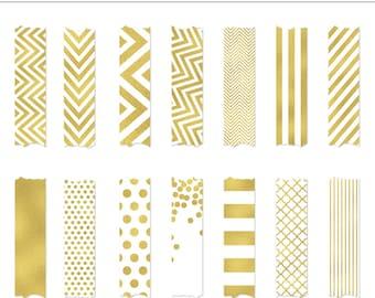 High Quality Gold Foil Washi Tape Clip Art - 14 Pieces, Glitter, Chevron, Dots, Stripes, Quatrefoil, Modern, Stickers, Design, Wedding