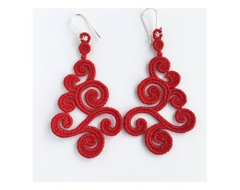 Earrings. Christmas earrings. Red earrings. Lace earrings. Dangle & Drop earrings. Handmade gift.