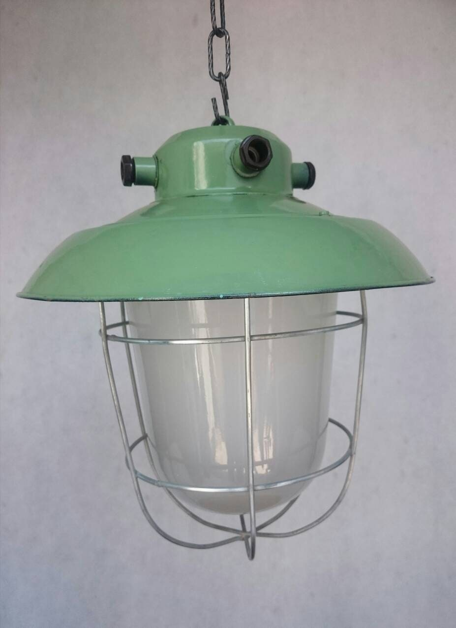 old industrial lighting. Old Industrial Enamel Lighting, Vintage Pendant Lamp, Antique Loft Decor, Cage Lamp Lighting