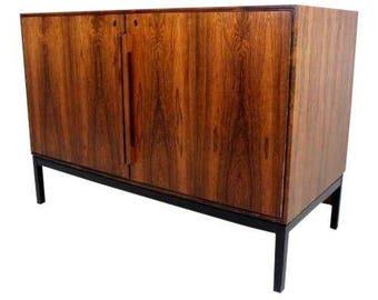 Vintage Danish Mid Century Modern Rosewood Credenza Refrigerator Cabinet