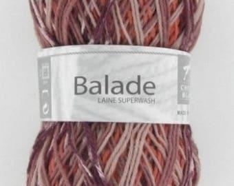 Sock - yarn knitting color Brown/brick No. 504 white horse ride