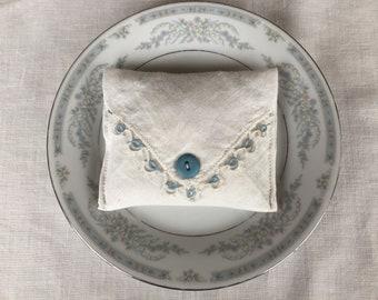 Vintage Handkerchief Handmade Lavender Sachet With Blue & White Crocheted Trim