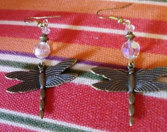 Brass Dragonfly and Crystal Dangle Earrings