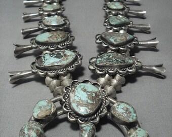 Huge!! Vintage Navajo Green Turquoise Sterling Silver Squash Blossom Necklace