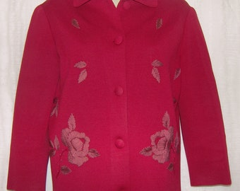 Gorgeous vintage wool cardigan sweater deep red  with embroidery