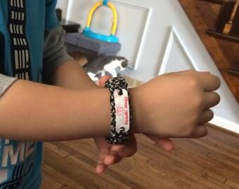 Personalized kids medical alert bracelet in choice of paracord color, Waterproof lead & nickel free, Custom child's 2 line medical alert ID