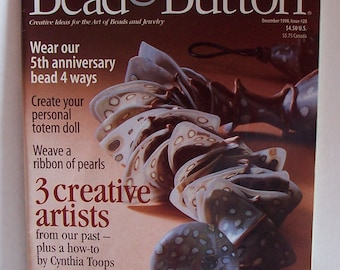 Bead and Button Magazine December 1998, Number 28, Peyote Stitch, Ornaments, Black Cat, Clay and Other Beaded Projects, Bitcoin Accepted