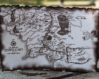 Leather Map Lord of the Rings best friend gift personalized gift Map Decor large travel map Birthday gift Boyfriend gift gift for him