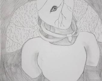 Heart of the matter- girl, portrait, original, 9x12, drawing, black and white