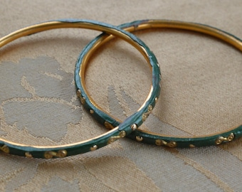 Pretty Vintage Hand painted Forest Green, Gold tone Bangle Bracelets (2)