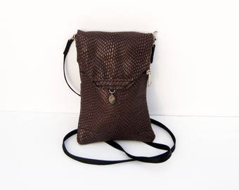 Brown Snakeskin Genuine Leather, Embossed,  Extra Large Cell Phone Purse with Flap