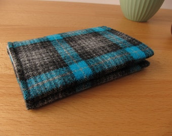 Teal Wool Plaid Card Case