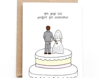 Funny Wedding Card - Butt Touching Cake Toppers
