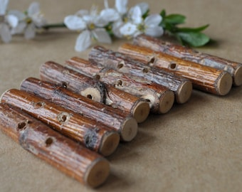Toggle Buttons •  set of 9  Birch Wooden Buttons • tree branch wood button