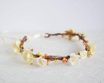 Autumn Rose Flower Crown, floral crown, woodland wedding, flowergirl garland, bridesmaid, harvest flower crown, autumn wedding - PIPER