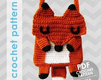 crochet bag pattern - fox crossbody bag pattern - crochet purse - fox bag - fox purse - sweet fox purse crochet pattern - kids bag purse