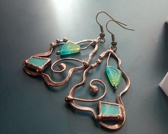 Copper wire earrings, bohemian jewelry, artistic earrings, turquoise stained glass jewelry, wearable art, gift for women, glass beaded