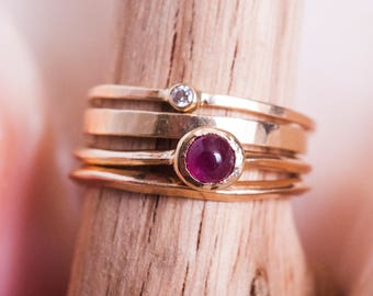 14k Ruby  Knife Edge Ring | 14k Gold and Ruby
