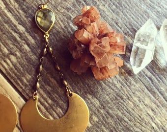 Labradorite Earrings,Labradorite Earrings Gold,Labradorite Teardrop Dangles,Raw Stone earrings,Labradorite,Brass Moon Earrings,Long Earrings