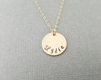 Mom Necklace -  Custom Hand Stamped Name Disc Gold Necklace - 14k Gold Filled Jewelry - Personalized Necklace - Gift For Her