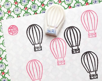 hot air balloon rubber stamp | voyage stamp | gift for him | diy birthday card making | travel planners | hand carved by talktothesun