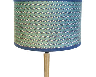 LAMPSHADE vintage celadon blue and off-white pattern