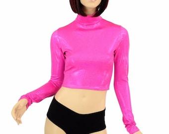 Long Sleeve Neon Pink Holographic Turtle Neck Crop Top Rave Festival Clubwear Bubblegum Cotton Candy Barbie 152308