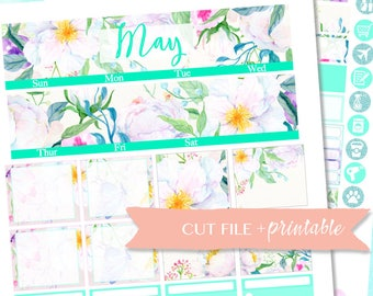 MAY MONTHLY VIEW, Flower Planner Kit, Erin Condren monthly kit, Printable Planner Stickers, eclp printable, Planner Sticker, Digital Sticker