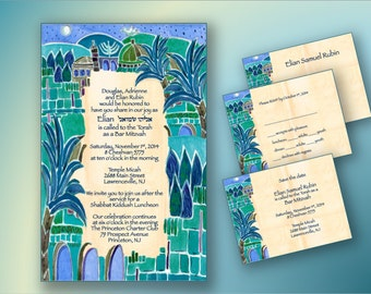 BAR MITZVAH invitations - custom printable invitations - DIY - Print your own invitations - digital files - English Hebrew - Blue Jerusalem