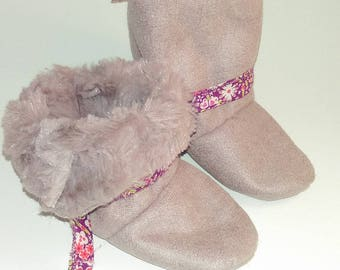 Fur lined suede boots