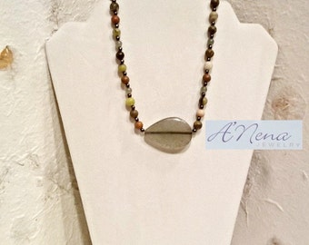 "Men's Necklace: Fire Agate,Aventurine, Jasper, Hematite And 925 Sterling Silver  ""Worthy """