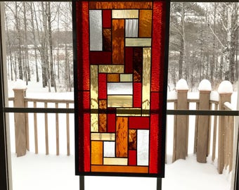 Red Amber and Yellow Geometric Stained Glass Panel, Stained Glass Window, Mixed Stained Glass, Window Hanging, Home Decor, Leaded Glass