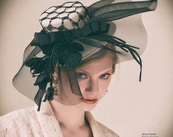 Black and Cream Extravaganza Hat Mini-Hat Fascinator ON SALE priced already marked down
