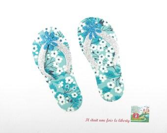 Applied seconds flip flops shoes beach vacation custom tee-shirt fabric liberty Mitsi mint glitter flex iron-on patch