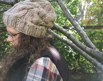 Slouchy Hat, Slouchy Beanie, Cable Knit Hat, Cable Knit Beanie, Knit Hat, Knitting Hat, Chunky Hat, Chunky Beanie, Winter Hat, Women's Hat