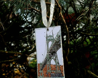 St Johns Bridge - pdx hand-hand-painted glitter Holiday Ornament - Portland, Oregon
