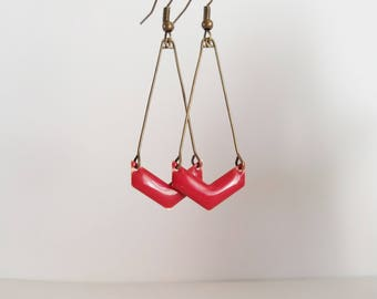 Chevron red enamel earrings