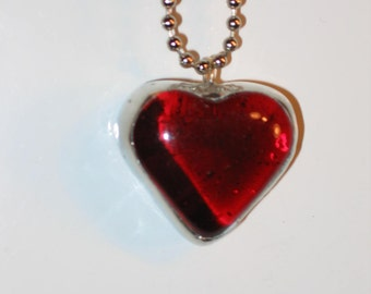 Chubby Heart Stained Glass Necklace Pendant Jewelry