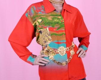 90s Vintage Leopard Print Red Blouse Tropical Print Shirt L/XL