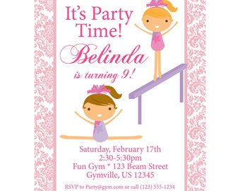 Gymnastic Invitation - Pastel Pink Damask Girl Gymnast Personalized Birthday Party Invite - a Digital Printable File