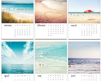 2018 calendar beach photography calendar 4x6 5x7 ocean themed calendar mini desk calendar with easel nautical decor ocean photography teal